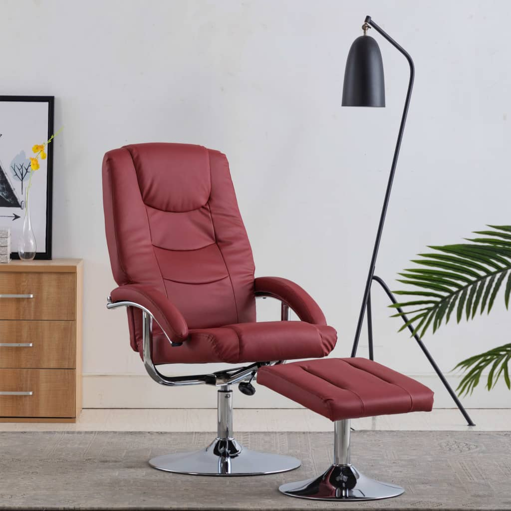 Reclining Chair with Footstool Wine Red Faux Leather 1