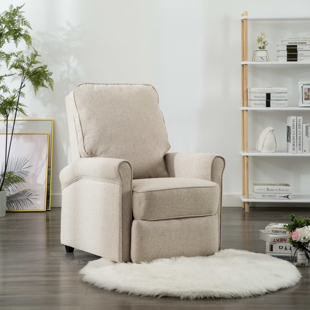 TV Recliner Chair Cream Fabric