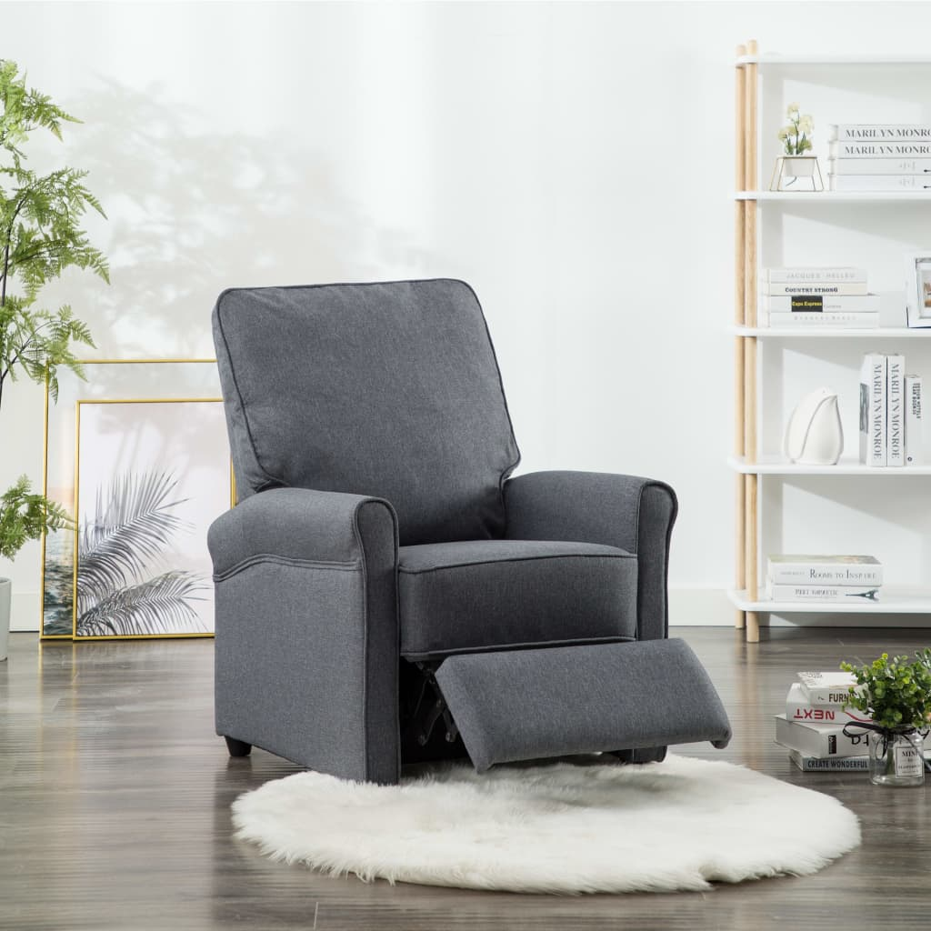 TV Recliner Chair Dark Grey Fabric 4