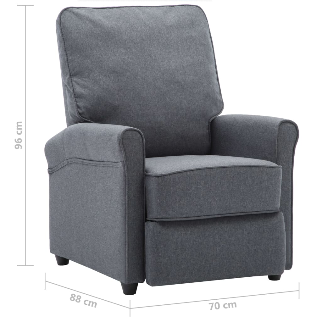 TV Recliner Chair Dark Grey Fabric 9