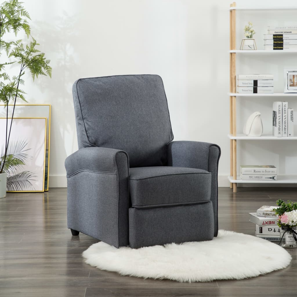TV Recliner Chair Dark Grey Fabric 1