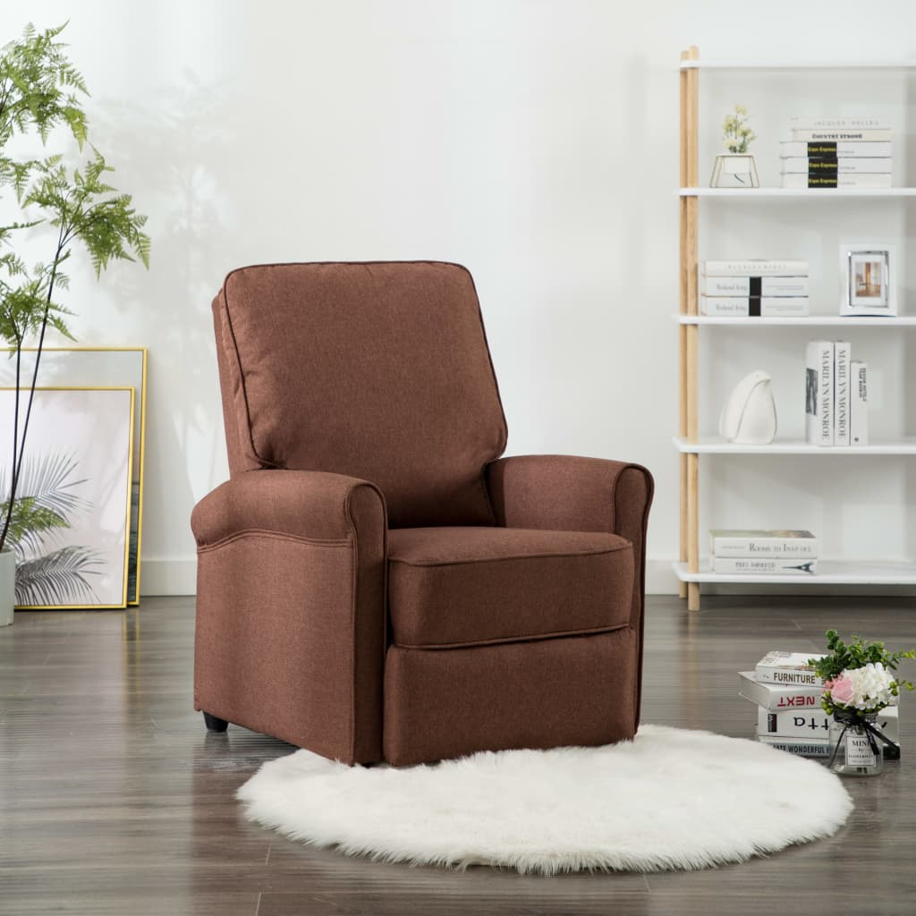 TV Recliner Chair Brown Fabric 1