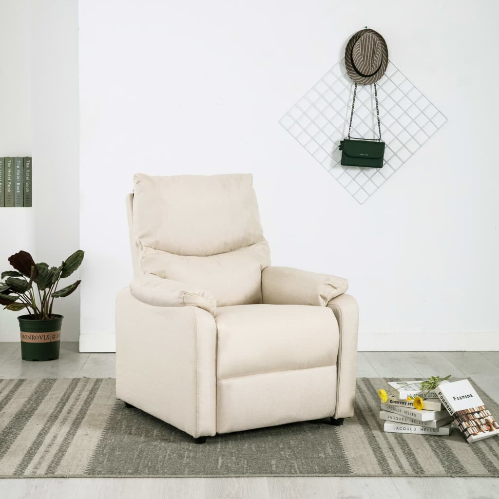 TV Recliner Cream Fabric 1
