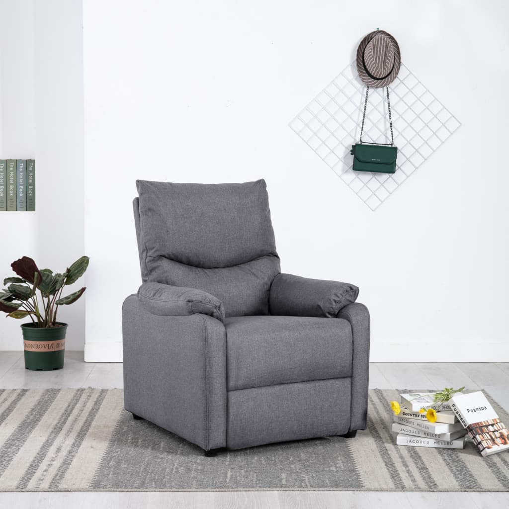 TV Recliner Light Grey Fabric 1