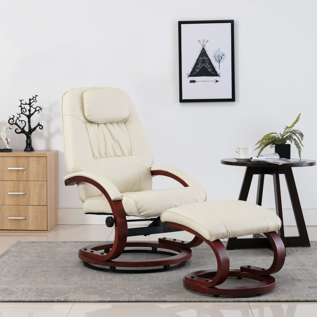 Reclining Chair with Footstool Cream White Faux Leather 1