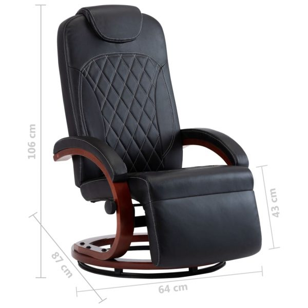 TV Recliner Black Faux Leather 8