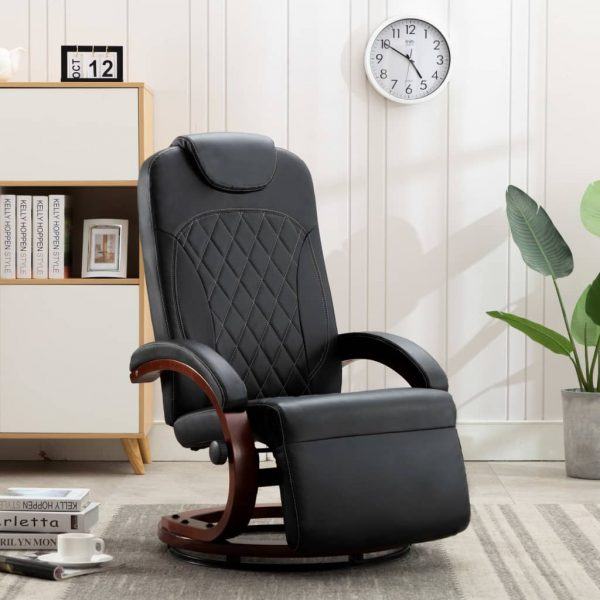 TV Recliner Black Faux Leather 1