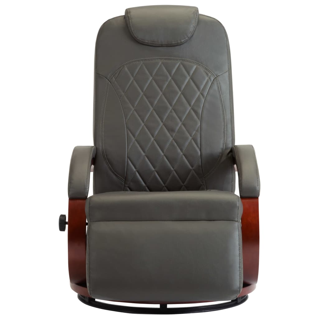 TV Recliner Grey Faux Leather 3