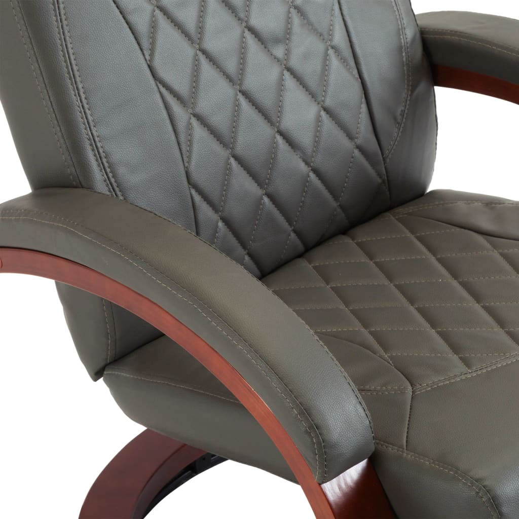 TV Recliner Grey Faux Leather 7