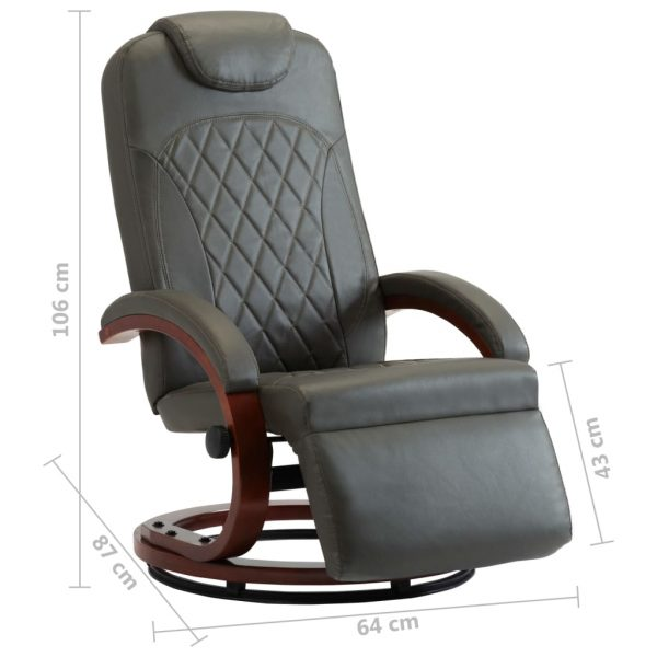 TV Recliner Grey Faux Leather 8