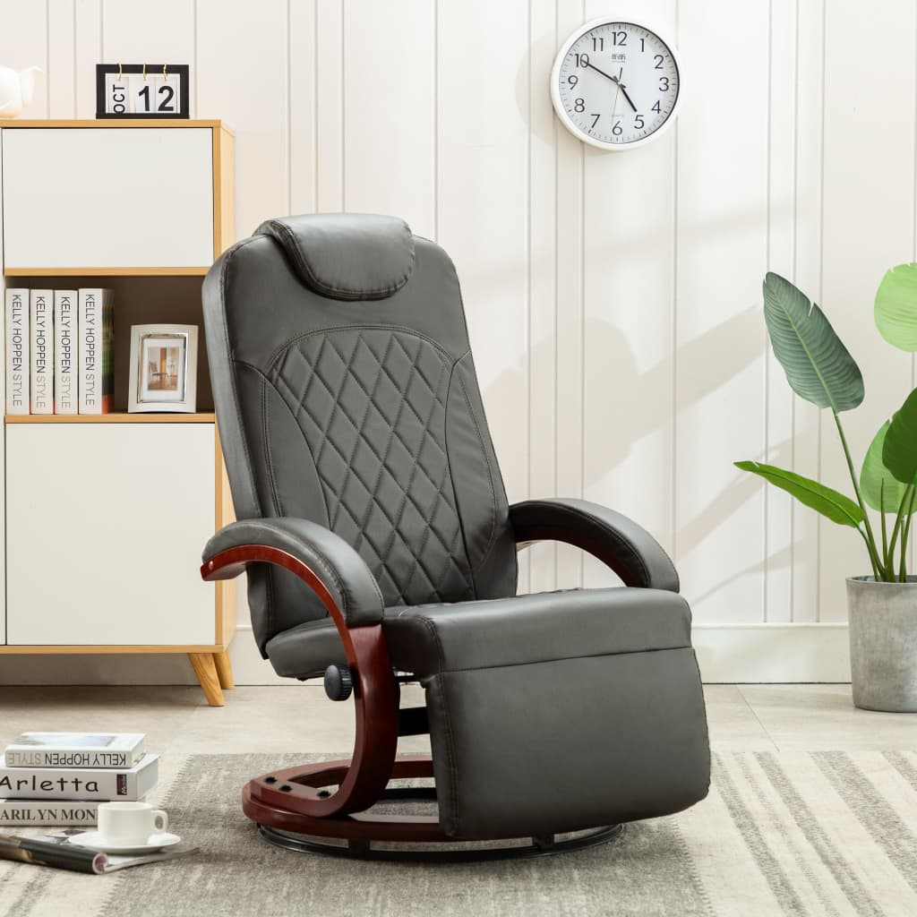 TV Recliner Grey Faux Leather 1