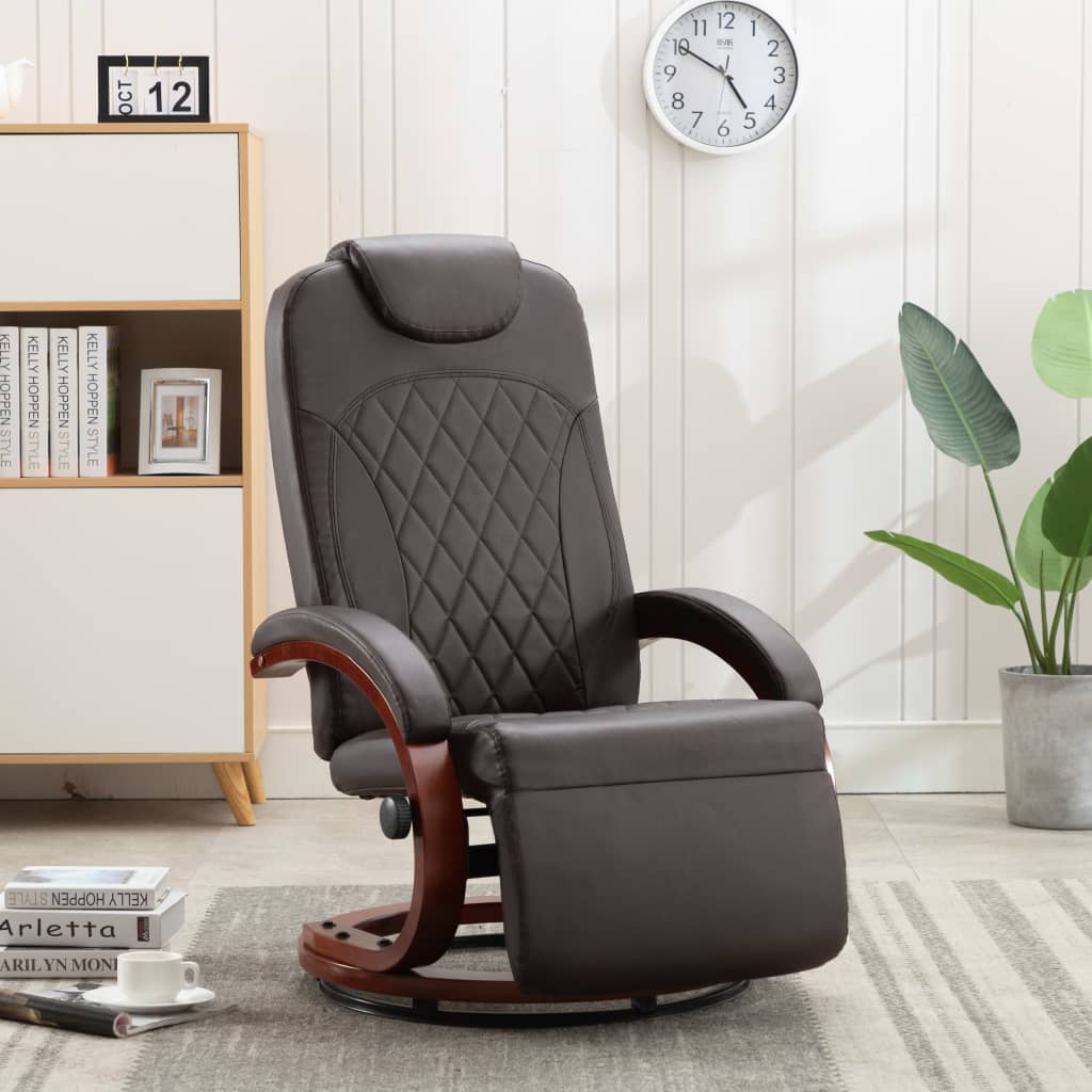 TV Recliner Brown Faux Leather