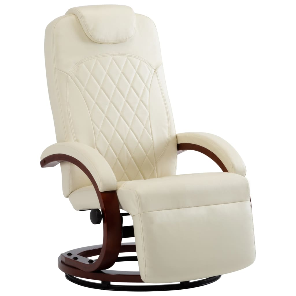 TV Recliner Cream White Faux Leather 2