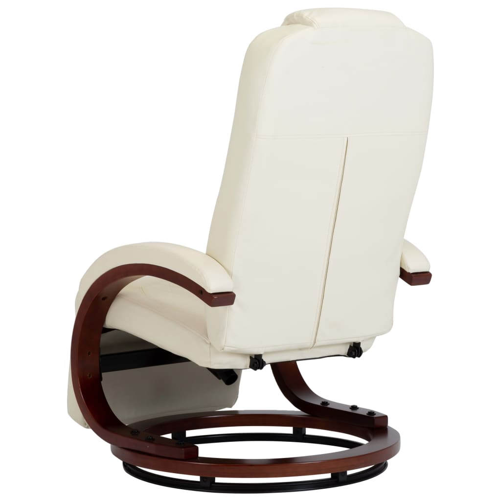 TV Recliner Cream White Faux Leather 6