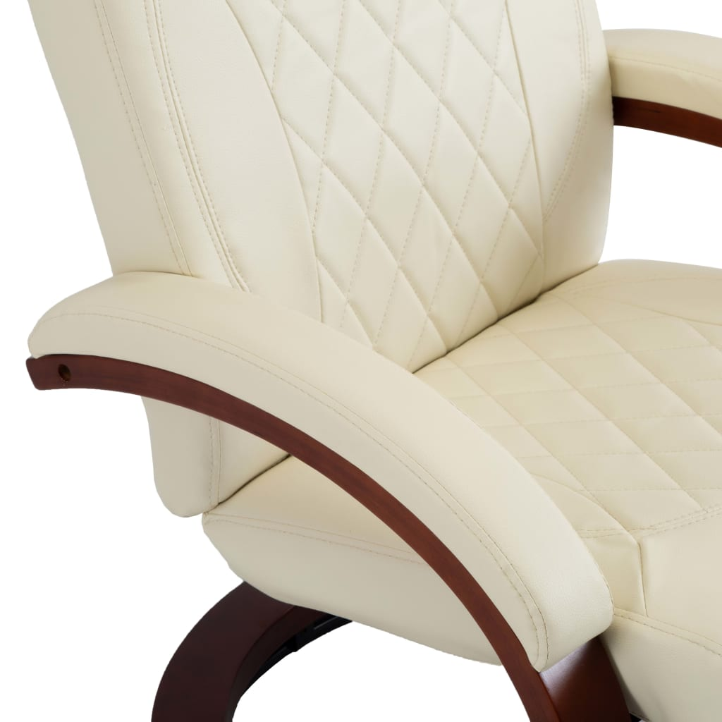 TV Recliner Cream White Faux Leather 7