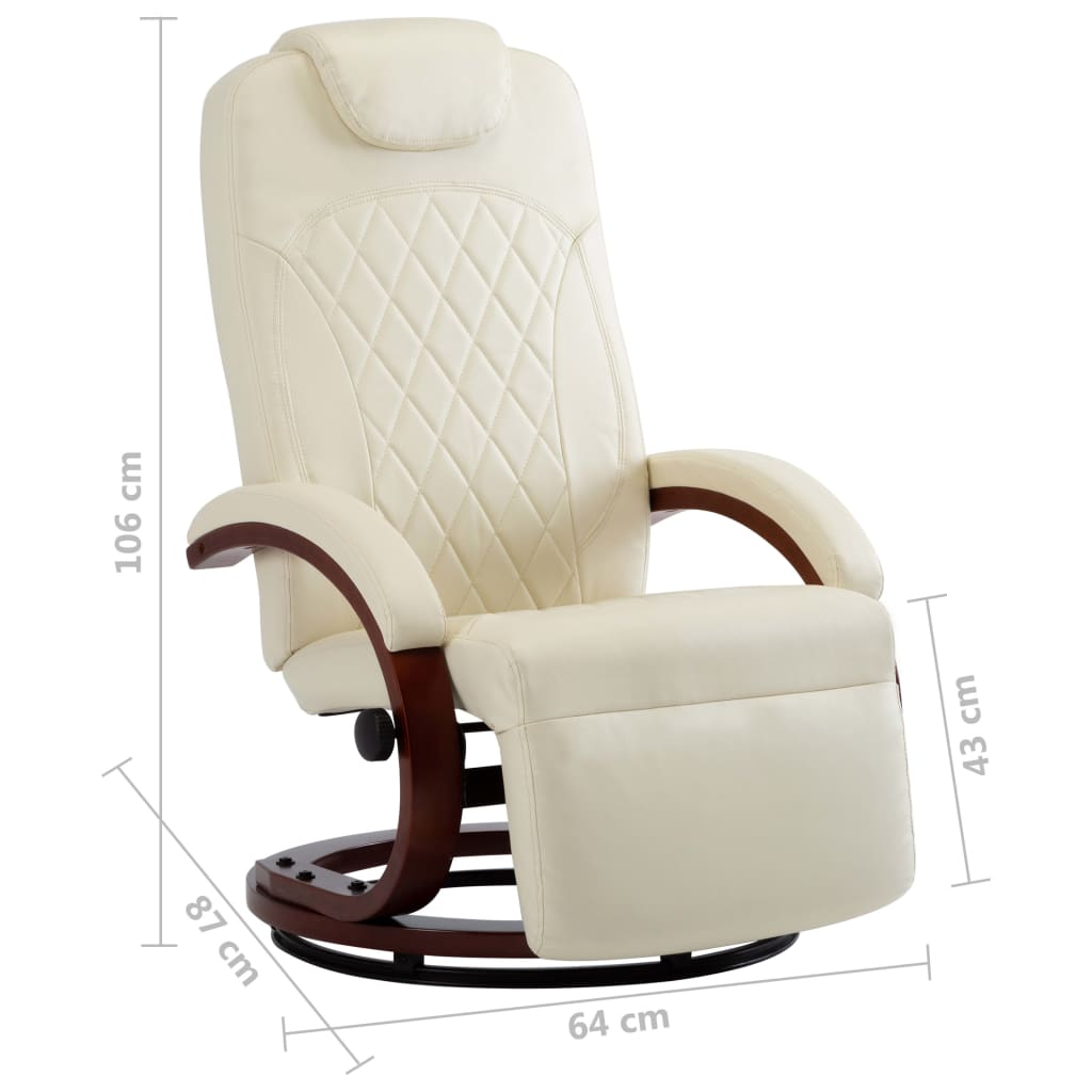 TV Recliner Cream White Faux Leather 8