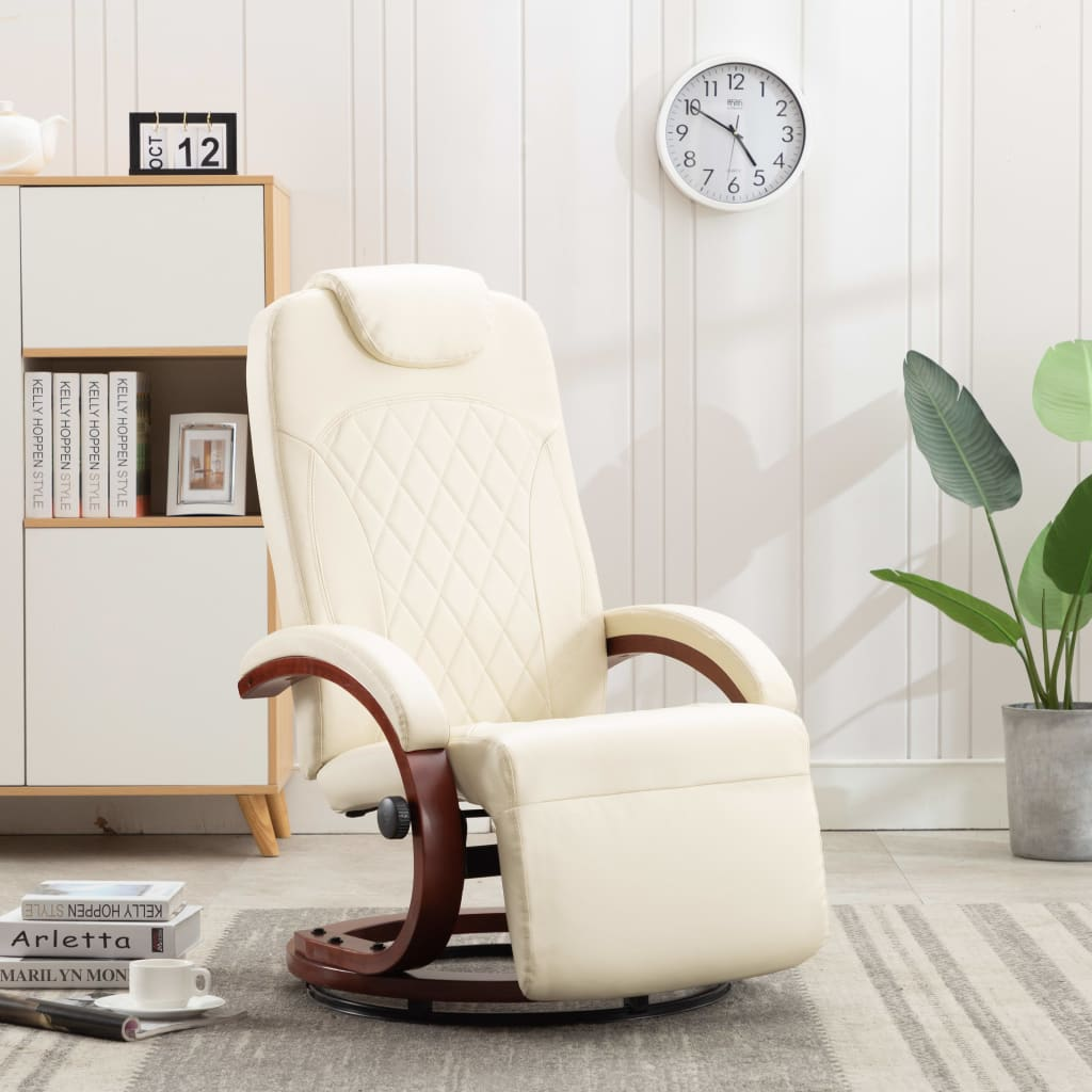 TV Recliner Cream White Faux Leather 1