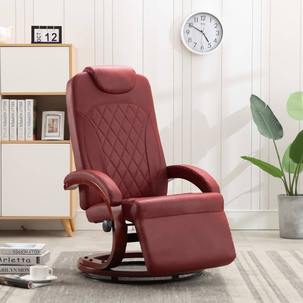 TV Recliner Wine Red Faux Leather