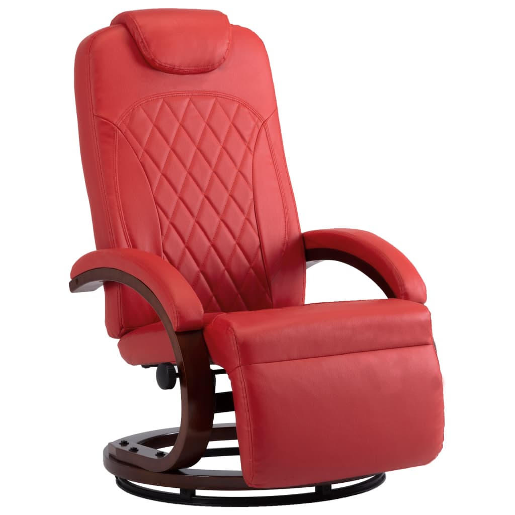 TV Recliner Red Faux Leather 2