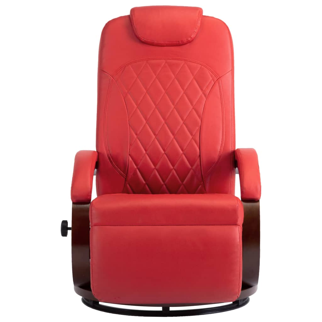 TV Recliner Red Faux Leather 3