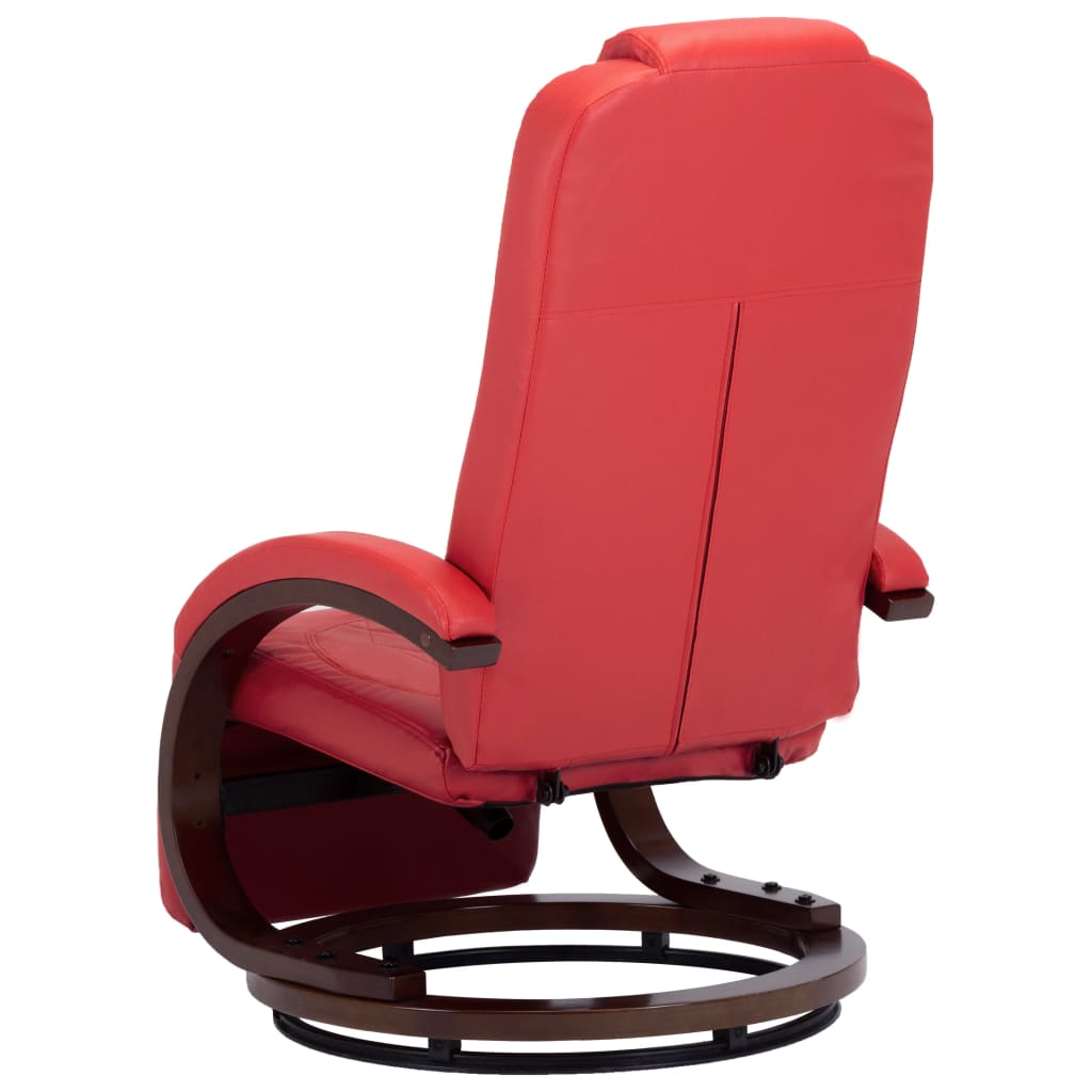 TV Recliner Red Faux Leather 6
