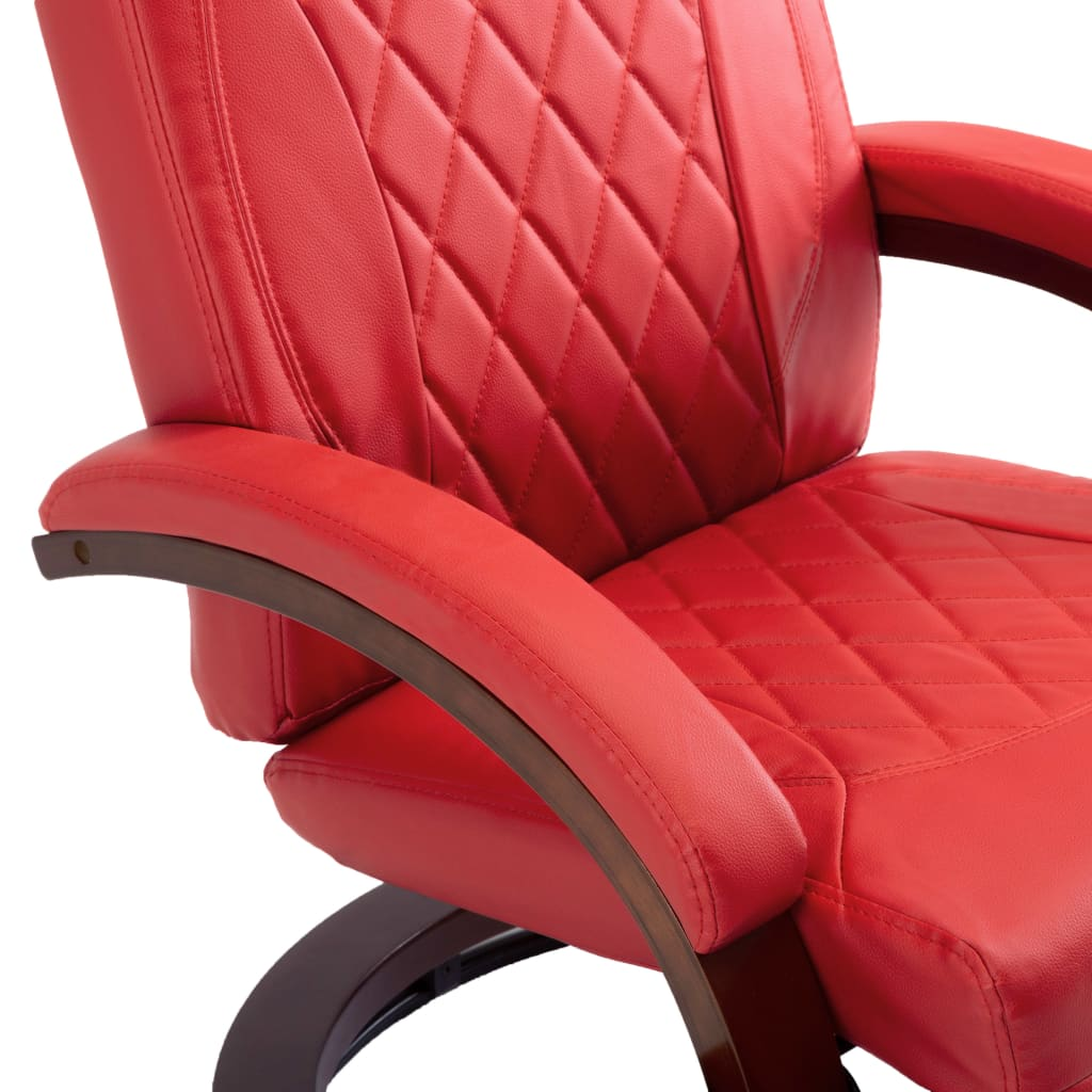 TV Recliner Red Faux Leather 7