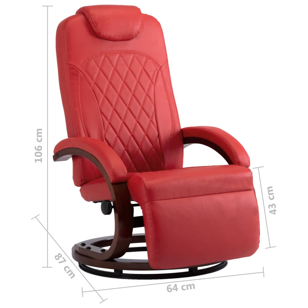 TV Recliner Red Faux Leather 8