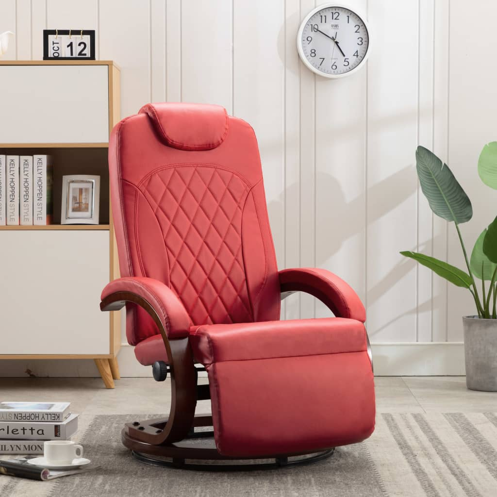 TV Recliner Red Faux Leather 1