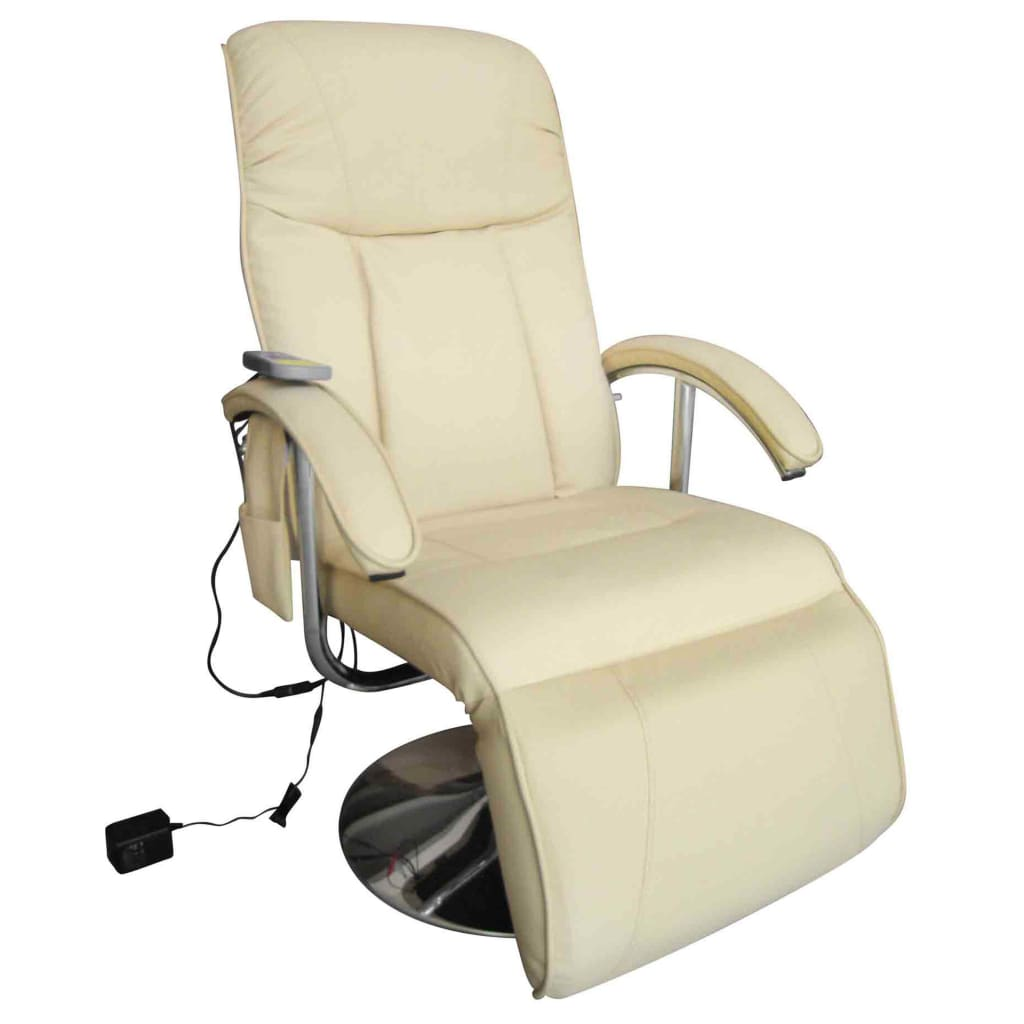 Massage Chair Cream White Faux Leather