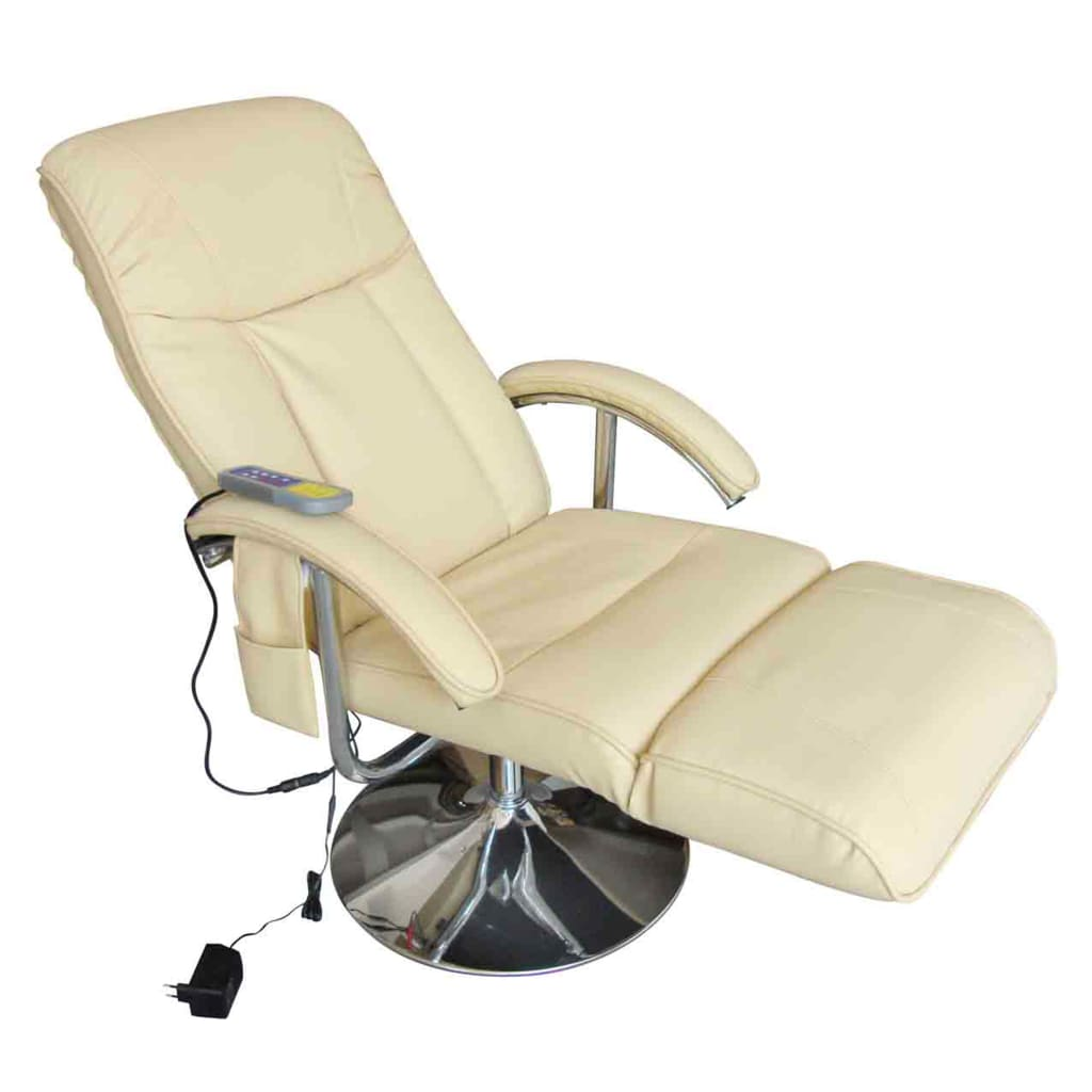 Massage Chair Cream White Faux Leather 3