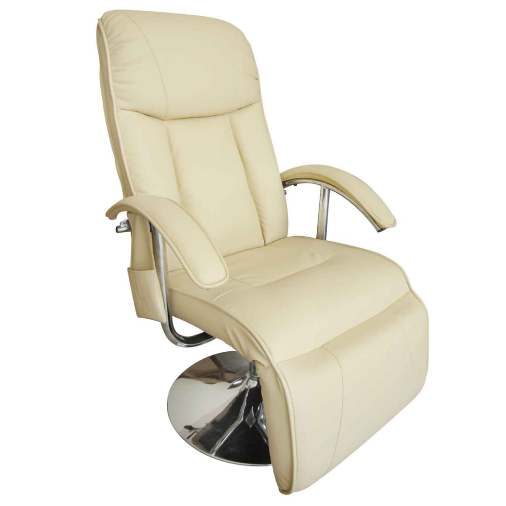 Massage Chair Cream White Faux Leather 4