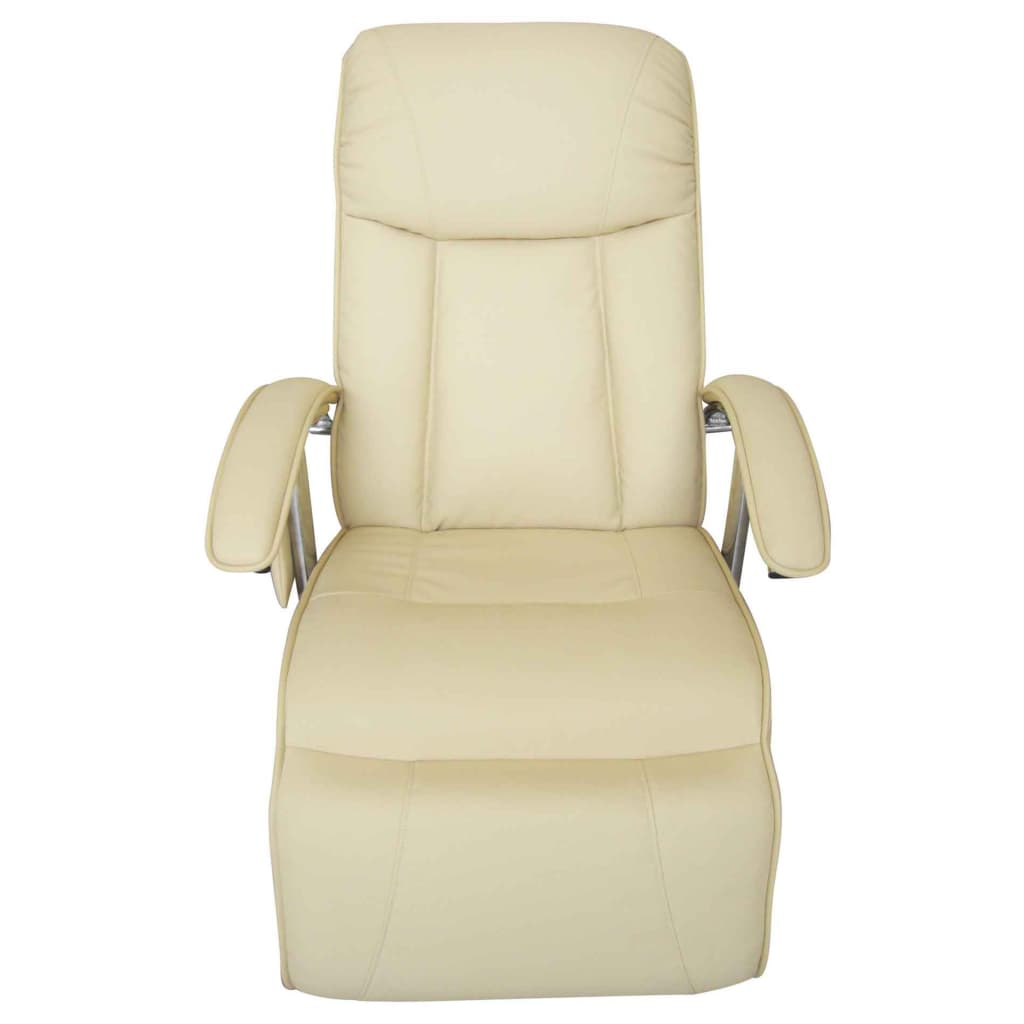 Massage Chair Cream White Faux Leather 5
