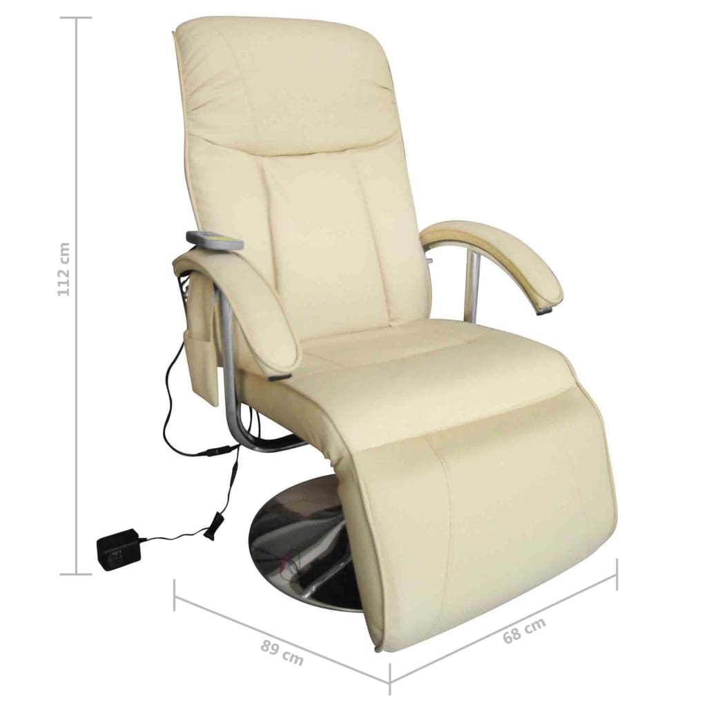 Massage Chair Cream White Faux Leather 6