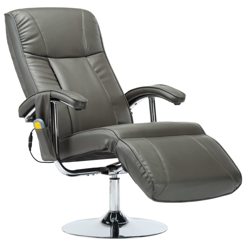 Massage Chair Cream Grey Faux Leather 2