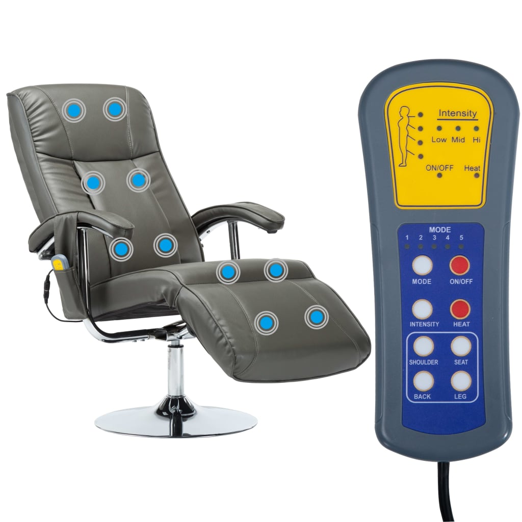 Massage Chair Cream Grey Faux Leather 4