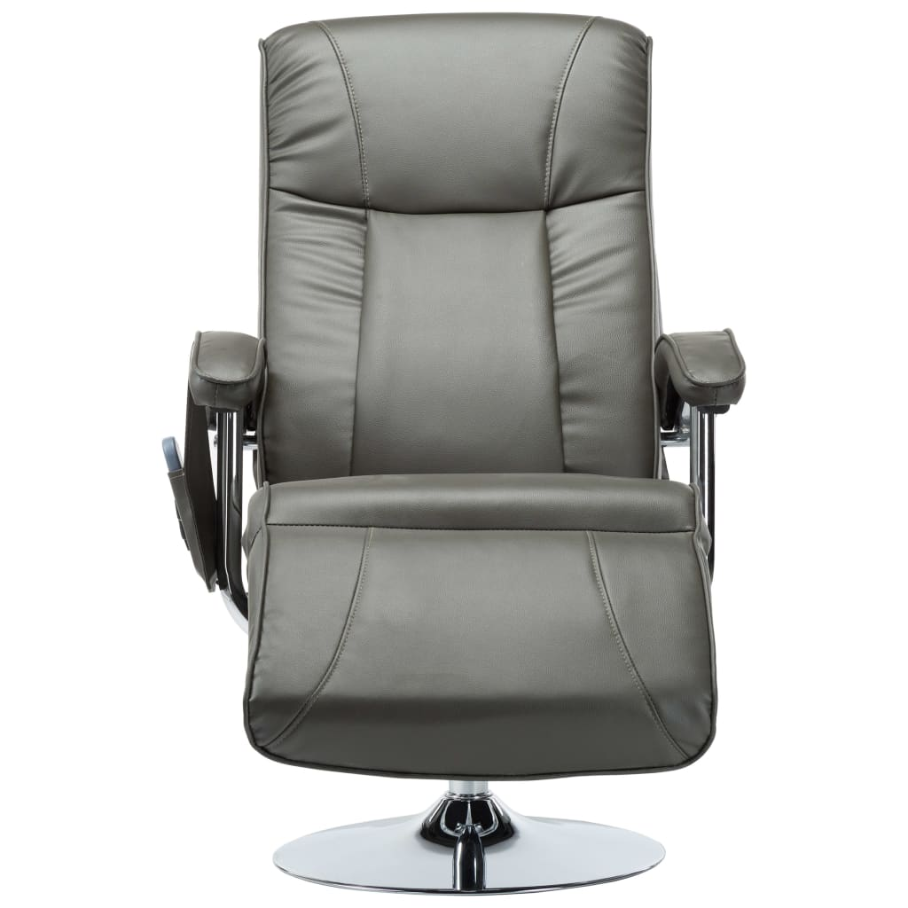 Massage Chair Cream Grey Faux Leather 5