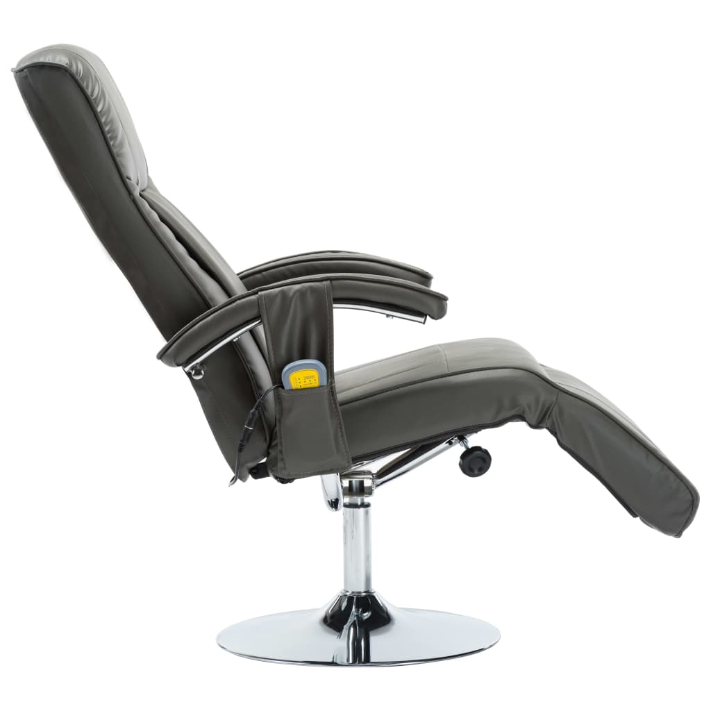 Massage Chair Cream Grey Faux Leather 6