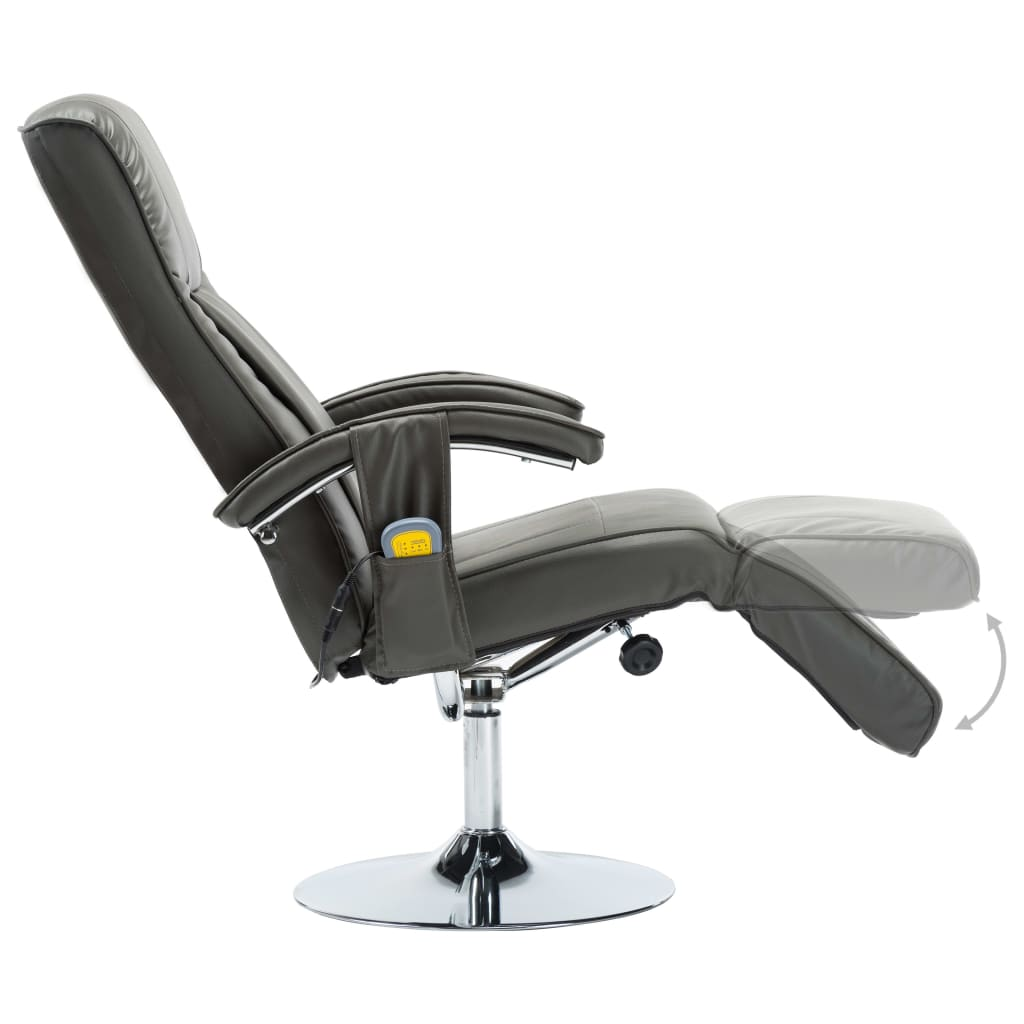 Massage Chair Cream Grey Faux Leather 7