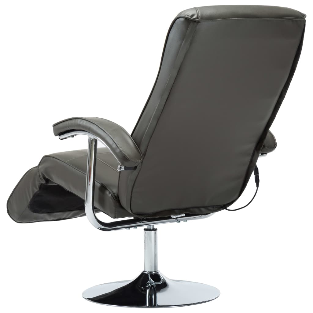 Massage Chair Cream Grey Faux Leather 8