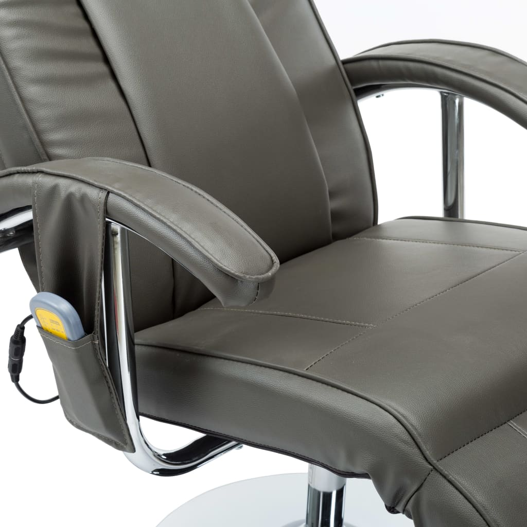 Massage Chair Cream Grey Faux Leather 9