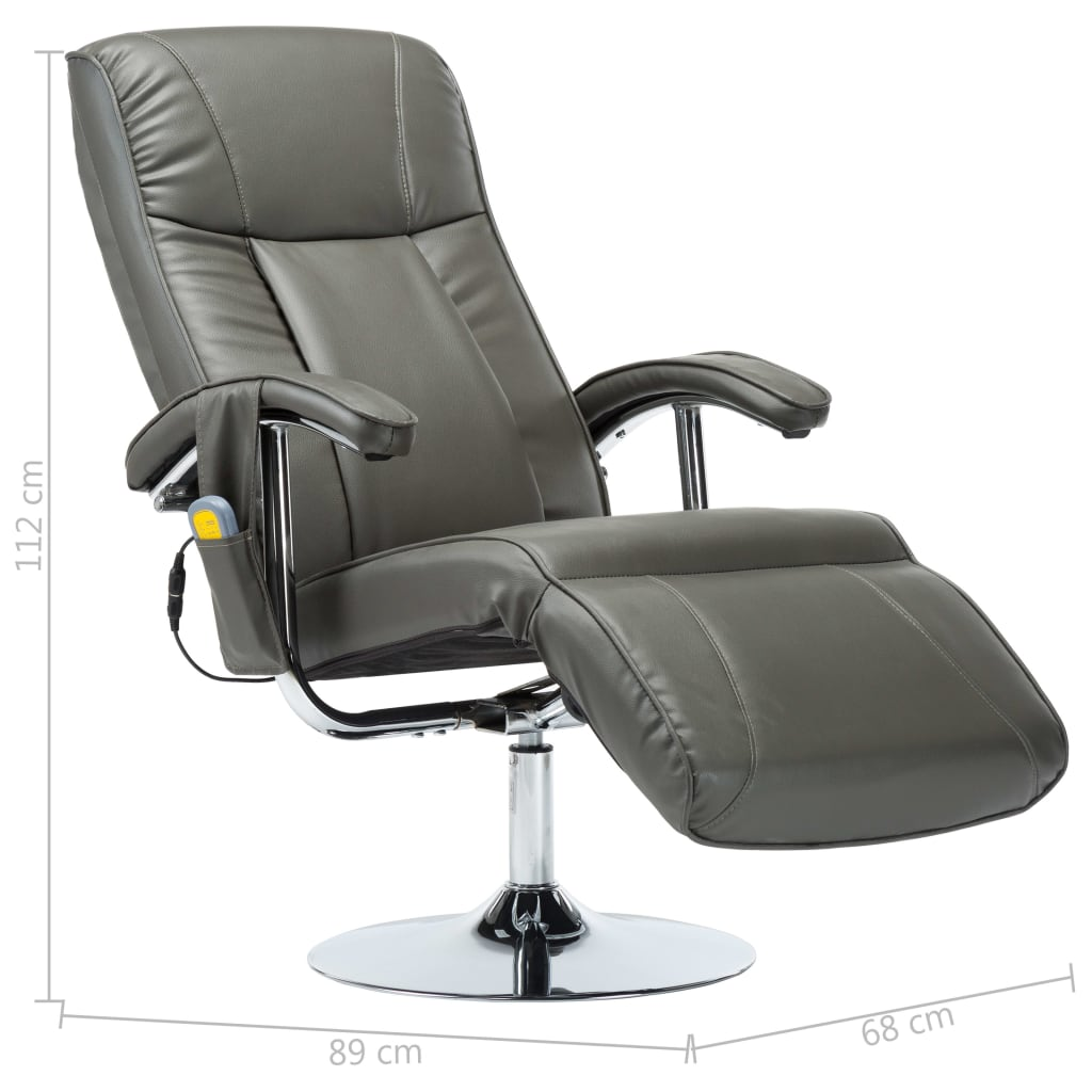 Massage Chair Cream Grey Faux Leather 10