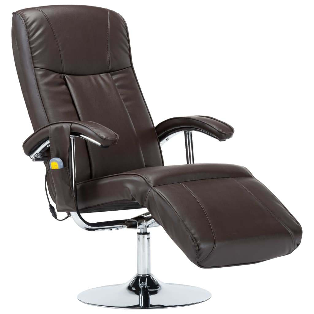 Massage Chair Cream Brown Faux Leather 2
