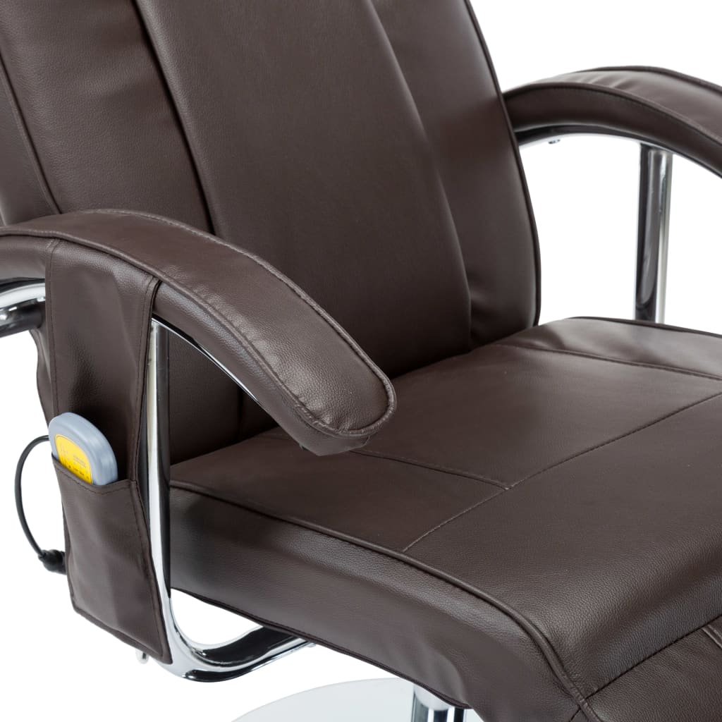 Massage Chair Cream Brown Faux Leather 3