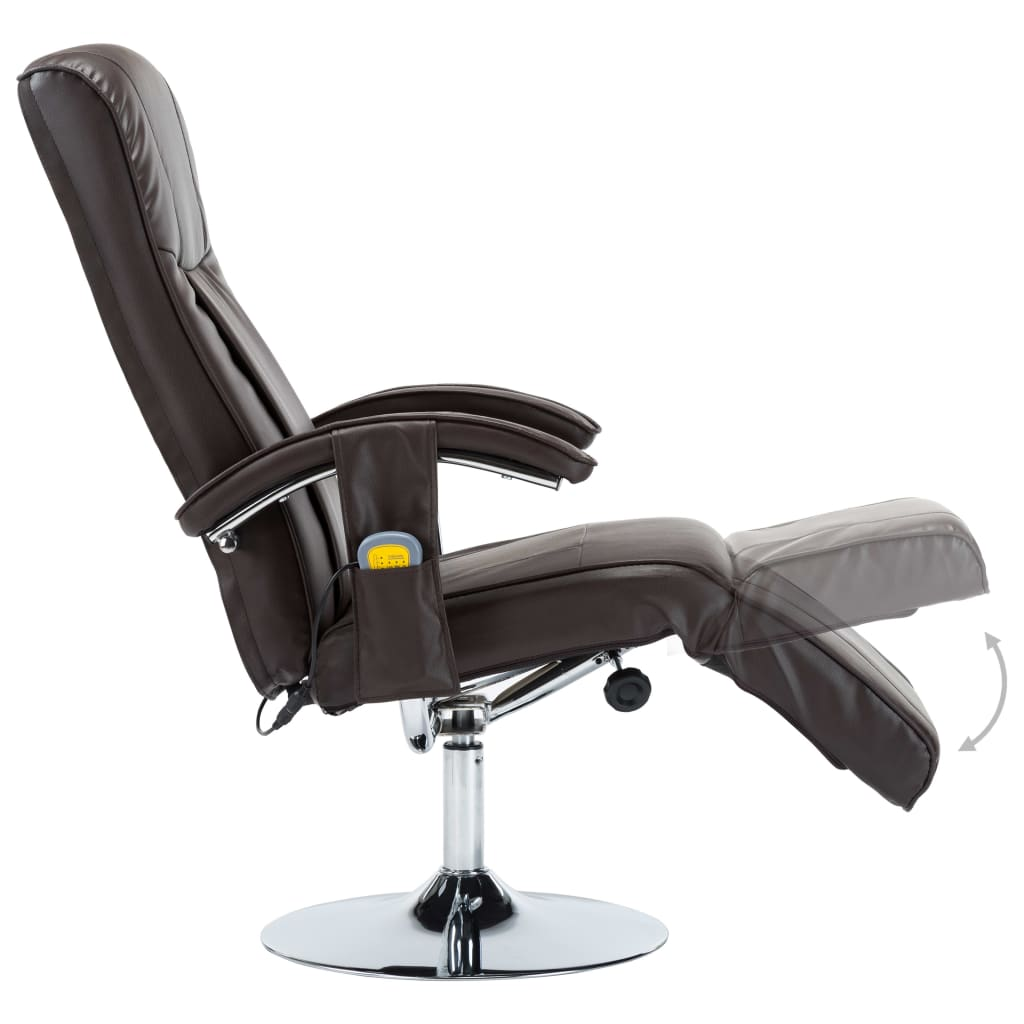 Massage Chair Cream Brown Faux Leather 8