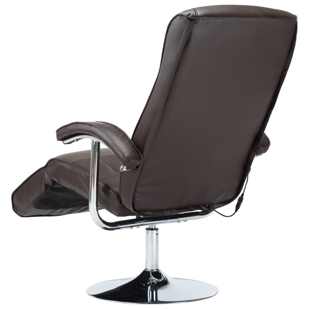 Massage Chair Cream Brown Faux Leather 9