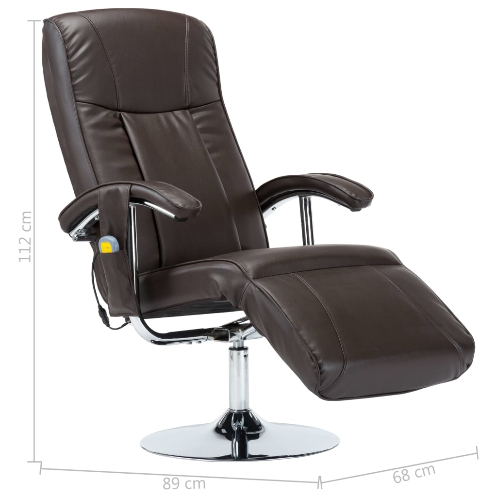 Massage Chair Cream Brown Faux Leather 10