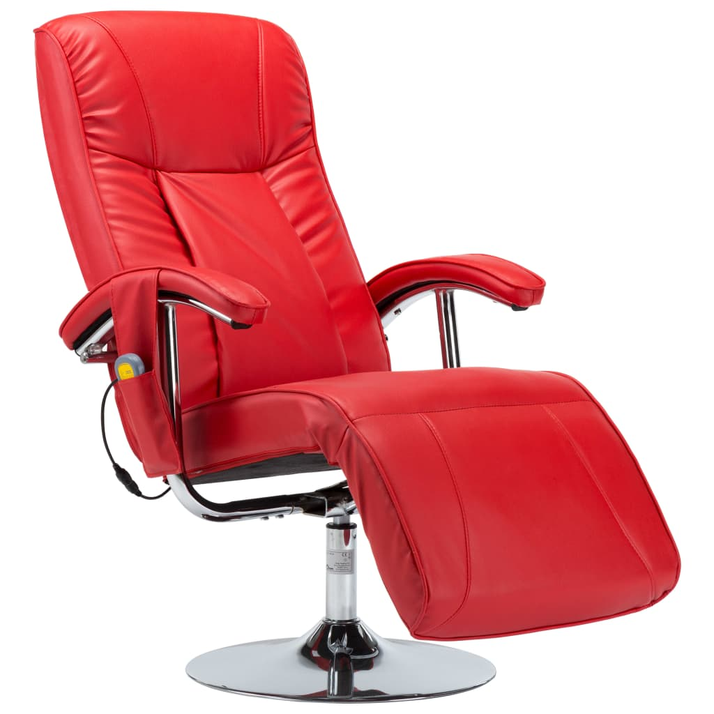 Massage Chair Red Faux Leather 2