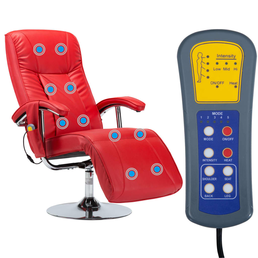 Massage Chair Red Faux Leather 5