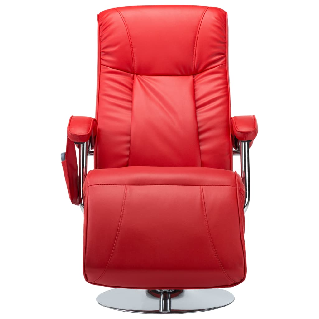 Massage Chair Red Faux Leather 6