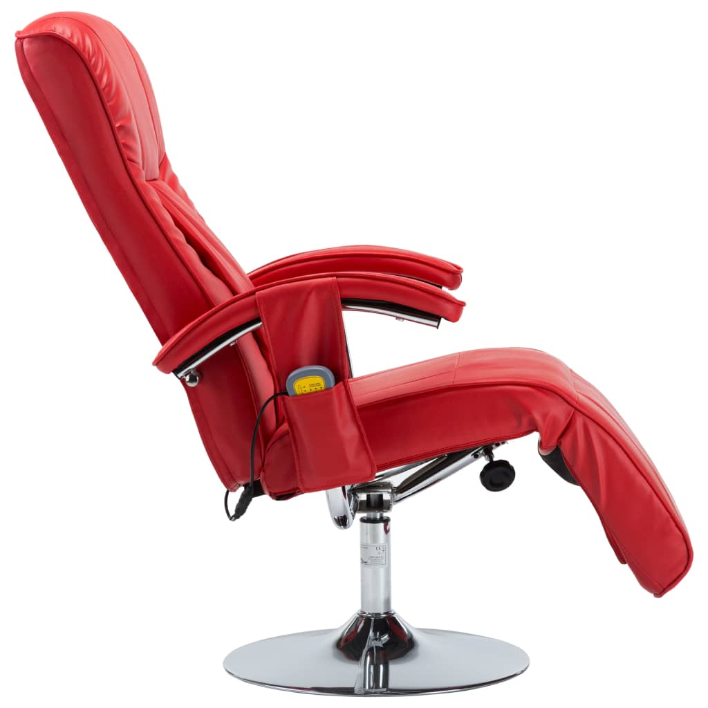 Massage Chair Red Faux Leather 7